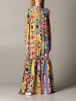 Stella Jean Long Dress In Printed Silk