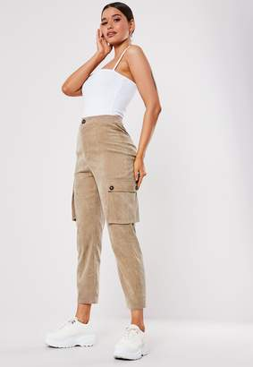 Missguided Tan Cord Straight Leg Cargo Trousers
