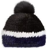 Salon Only Julia & Stella For The Fur Salon Knitted Mink Fur & Fox Fur Pom-Pom Hat