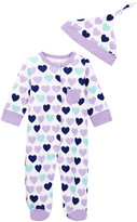 Offspring Heart Footie & Hat (Baby Girls)