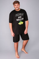 Yours Clothing BadRhino Black Jingle Bells Print T-Shirt & Plain Shorts Loungewear Set