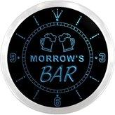 AdvPro Clock ncpv1525-b MORROW'S Home Bar Beer Mugs Pub LED Neon Sign Wall Clock