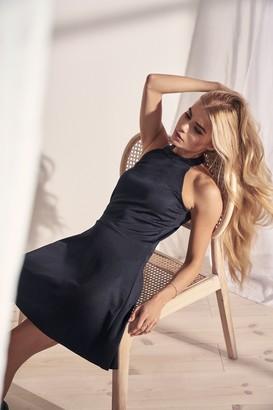 Pamela X NA-KD Halter Neck Skater Dress Black