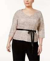 Alex Evenings Plus Size Sequined Lace Sash Blouse