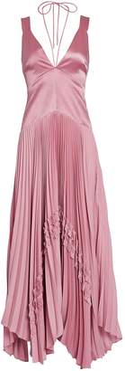 Alexis Bellona Pleated Satin Gown