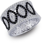 Lafonn Platinum & Black Rhodium Plated Sterling Silver Simulated Diamond Micro Pave Crossing Band Ring
