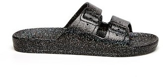Freedom Moses Two-Strap Sandal Black Glitter