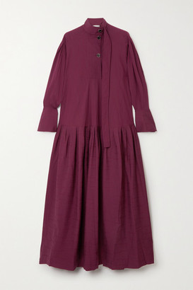 Palmer Harding Kapori Tiered Embroidered Cotton-blend Poplin Maxi Dress - Burgundy