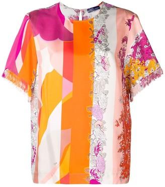 Emilio Pucci fringed detailing floral blouse
