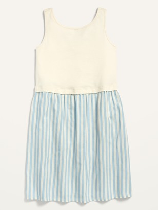 Old Navy Sleeveless Knit/Woven 2-in-1 Dress for Girls