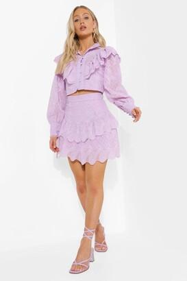 boohoo Double Ruffle Lace Mini Skirt