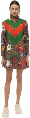 Gucci Flora Gg Supreme Print Tech Jersey Dress