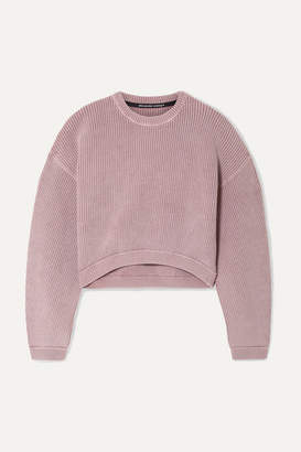 Alexander Wang Cropped Ribbed Cotton-blend Sweater - Lilac