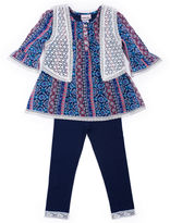 Little Lass 3-pc. Boho Vest, Top and Leggings Set - Baby Girls 3m-24m