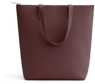 Cuyana Tall Structured Leather Zipper Tote