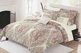 Nicole Miller Full/Queen Duvet Cover Set Rust, Green, Yellow and Blue Paisley on Cream