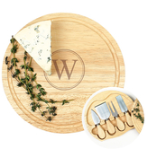 Personalized Gourmet Cheese Board Set with Utensils (5 PC)