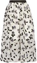 Lela Rose Fil Coupé Midi Skirt - Ivory