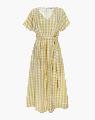 Madewell Dolman-Sleeve Tie-Waist Midi Dress in Gingham Check