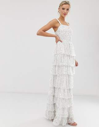Dolly & Delicious all over embellished square neck maxi dress with full tiered skirt in white