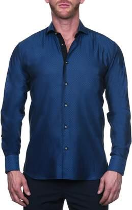 Maceoo Einstein Regular Fit Arrowhead Blue Button-Up Shirt