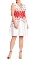 Sangria Embroidered Fit & Flare Dress (Plus Size)