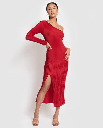 L'IDEE - Women's Red Midi Dresses - Soiree Pleated One Shoulder Long Sleeve Dress - Size One Size, 6 at The Iconic