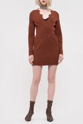 J.o.a. Scallop Edge Knit Mini Dress