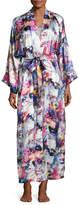 Christine Designs Blossom Printed Long Silk Wrap Robe, Multi Pattern