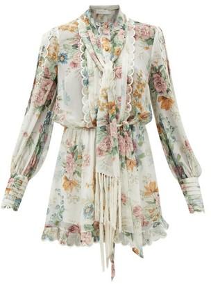 Zimmermann Wavelength Floral-print Silk Playsuit - Womens - Cream Print
