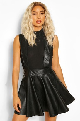 boohoo Leather Look Pinafore Skater Skirt