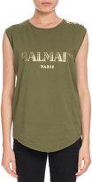 Balmain Button-Shoulder Logo Muscle Tee, Olive