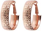 Bronzo Italia Diamond-Cut Oval Hoop Earrings