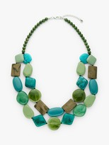 One Button Double Row Layered Necklace, Sea Green/Multi