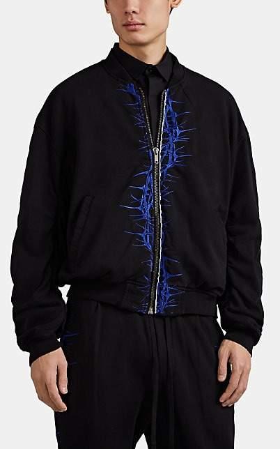Haider Ackermann Men's Thorn-Embroidered Cotton Bomber Jacket - Black