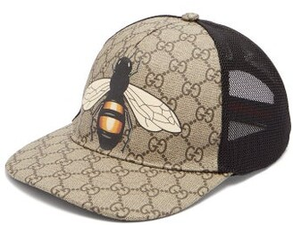 Gucci GG And Bee-print Mesh Hat - Beige