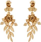 Oscar de la Renta Gold-plated rose-drop clip-on earrings