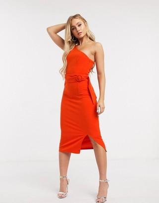 Girl In Mind one shoulder pencil dress in orange