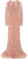 Zuhair Murad - Embellished Silk-tulle Gown - Pastel pink