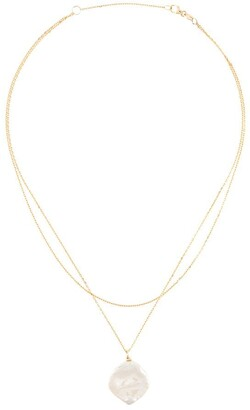 Natasha Schweitzer 9kt yellow gold double chain Keshi pearl choker