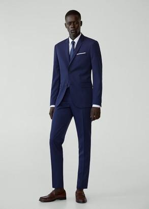 MANGO MAN - Super slim fit microstructure suit blazer ink blue - 34 - Men