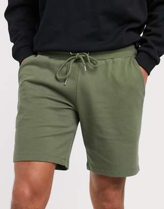 Asos Design DESIGN jersey slim shorts in khaki-Green