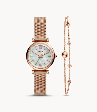 Fossil Carlie Mini Three-Hand Rose Gold-Tone Stainless Steel Watch And Bracelet Box Set jewelry