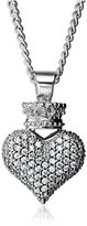 King Baby Studio Large 3D Pave Cubic Zirconia Crowned Heart Pendant Necklace