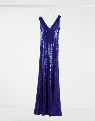 Goddiva fishtail sequin maxi dress in cobalt blue