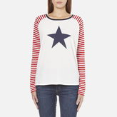 Maison Scotch Women's Long Sleeve Baseball TShirt with Cool Artworks - White