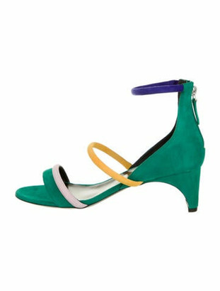 Pierre Hardy Suede Colorblock Pattern Sandals w/ Tags Green