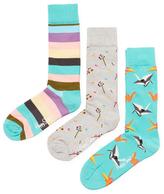 Happy Socks Stripes, Flower & Origami Socks (3 PK)