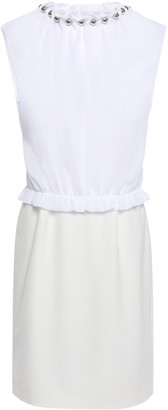 Boutique Moschino Layered Ruffle-trimmed Bead-embellished Stretch-crepe Blouse