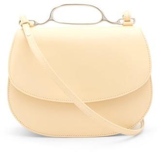 Jil Sander Metal-handle Small Leather Cross-body Bag - Womens - Light Yellow